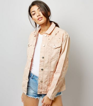 Click to view product details and reviews for Shell Pink Cut Out Embroidered Denim Jacket.
