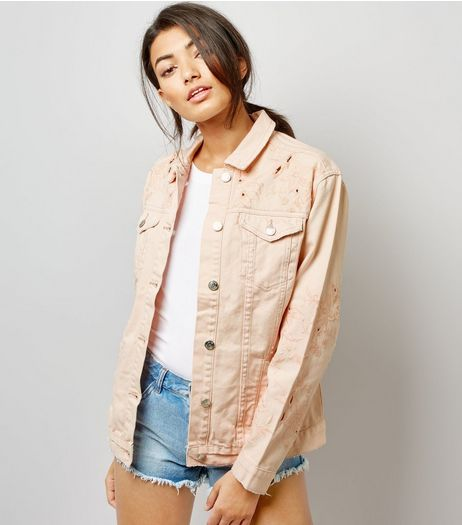 Shell Pink Cut Out Embroidered Denim Jacket  | New Look