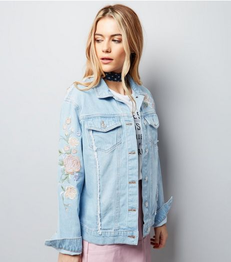 Pale Blue Floral Embroidered Frayed Seam Denim Jacket | New Look