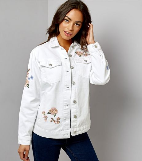 White Floral Embroidered Oversized Denim Jacket  | New Look
