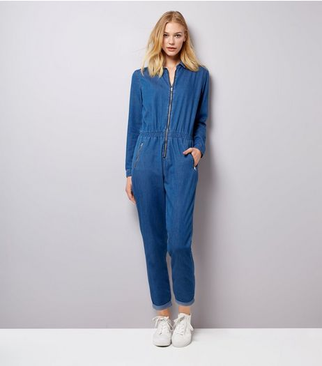 Blue Zip Front Long Sleeve Jumpsuit  | New Look