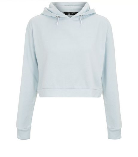 Teens Blue Cropped Hoodie  | New Look