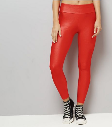 Red High Waist Leggings  | New Look