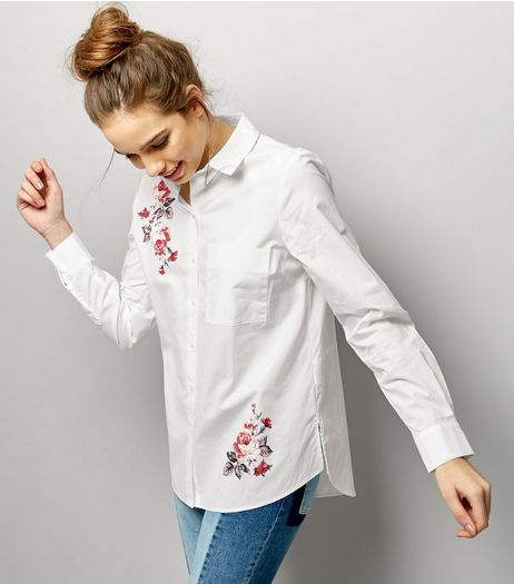 White Floral Print Trim Long Sleeve Shirt  | New Look