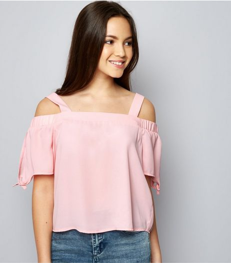 Teens Pink Tie Sleeve Cold Shoulder Top  | New Look