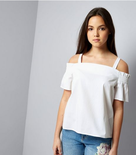 Teens White Shirred Cold Shoulder Bardot Neck Top | New Look