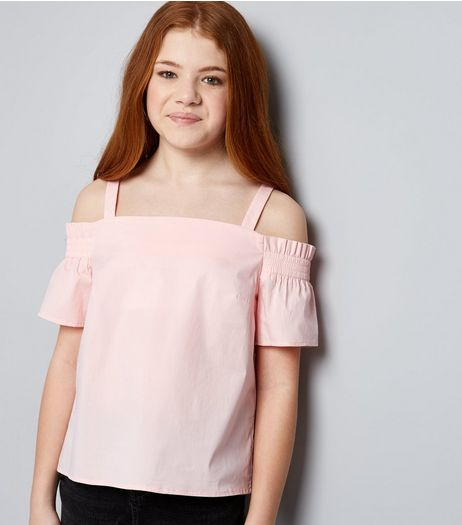 Teens Pink Shirred Cold Shoulder Bardot Neck Top | New Look