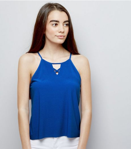 Teens Blue Crepe Jersey Lattice Front Cami | New Look