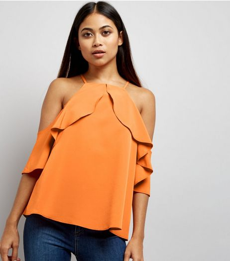 Petite Orange High Neck Frill Trim Cold Shoulder Top | New Look
