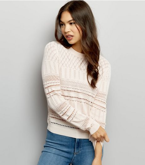 Shell Pink Cut Out Long Sleeve Jumper  | New Look
