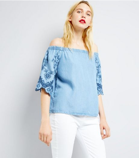 Blue Embroidered Sleeve Bardot Neck Top  | New Look