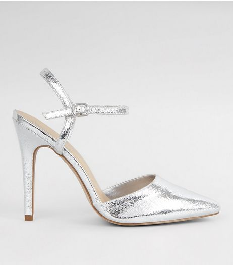 Silver Crackle Metallic Pointed Ankle Strap Heels | New Look