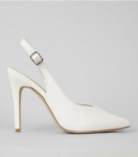 White Sling Back Pointed Heels | New Look