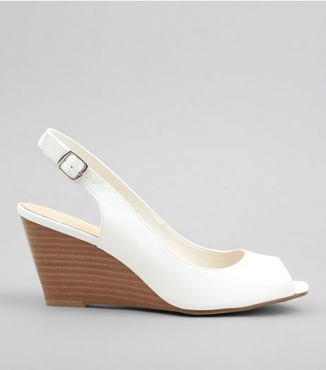 White Comfort Sling Back Wedges | New Look