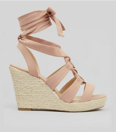 Nude Pink Suedette Tie Up Espadrille Wedged Heels | New Look