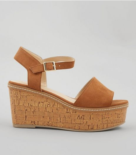 Tan Suedette Cork Wedge Platform Heels | New Look