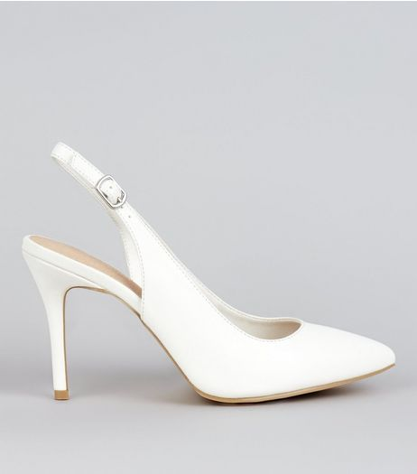 White Comfort Patent Sling Back Pointed Heels | New Look