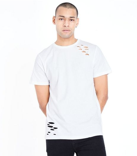 White Ripped Short Sleeve T-Shirt | New Look