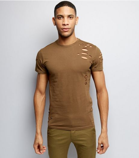 Khaki Ripped Short Sleeve T-Shirt  | New Look