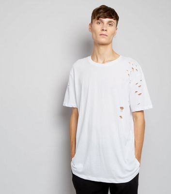 White Ripped Short Sleeve Longline T-Shirt