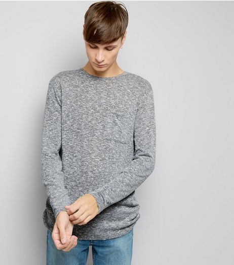 Grey Fine Knit Pocket Front Jumper | New Look