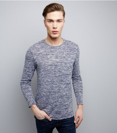 Blue Fine Knit Crew Neck Pocket Front Jumper | New Look