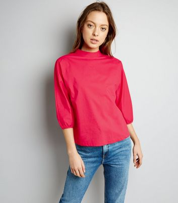 Pink Funnel Neck Balloon Sleeve Top