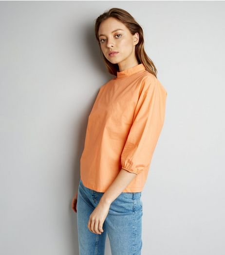 Orange Funnel Neck Balloon Sleeve Top | New Look
