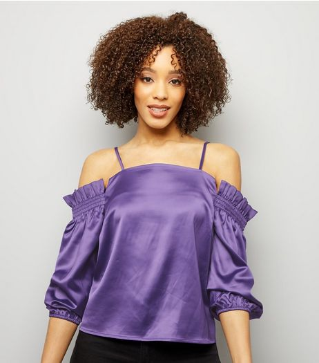 Purple Satin Shirred Shoulder Bardot Neck Top | New Look