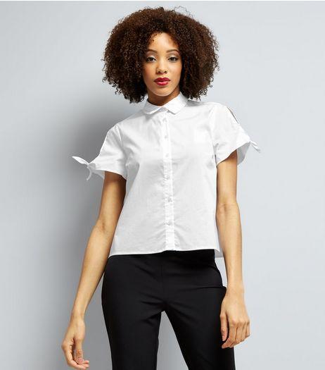 White Cold Shoulder Tie Sleeve Shirt  | New Look