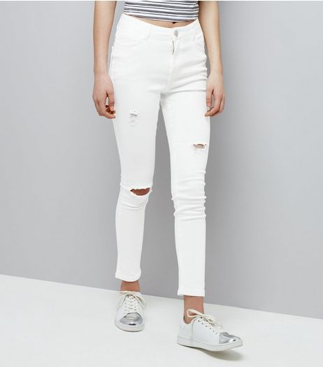 Teens White Ripped High Waist Skinny Jeans | New Look