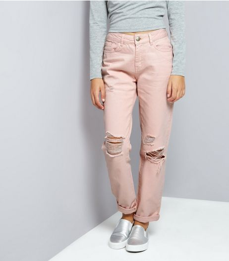 Teens Shell Pink Ripped Mom Jeans | New Look