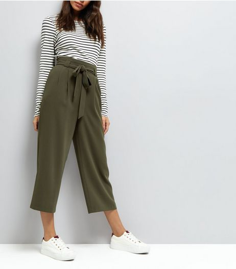 Khaki Tie Front Culottes | New Look