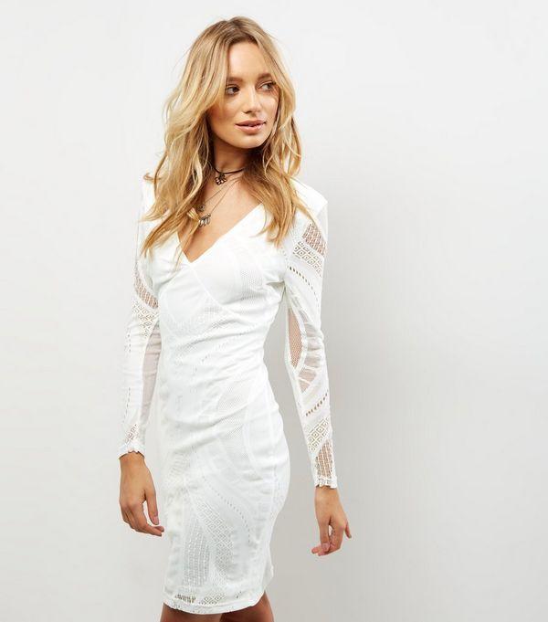 Parisian White Plunge V Neck Long Sleeve Bodycon Dress
