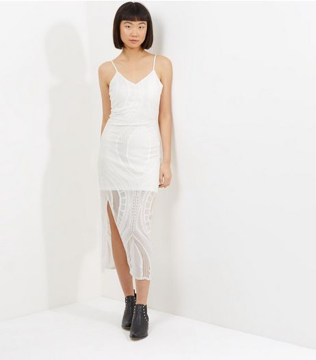 Parisian White Lace Split Side Maxi Dress  | New Look