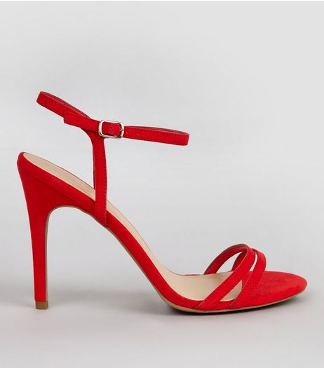 Red Suedette Double Strap Heeled Sandals | New Look
