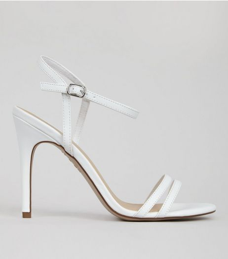 White Double Strap Front Heeled Sandals | New Look