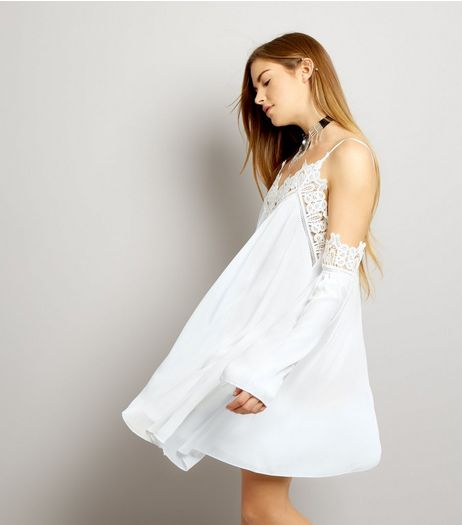 Parisian White Crochet Trim Cold Shoulder Dress | New Look