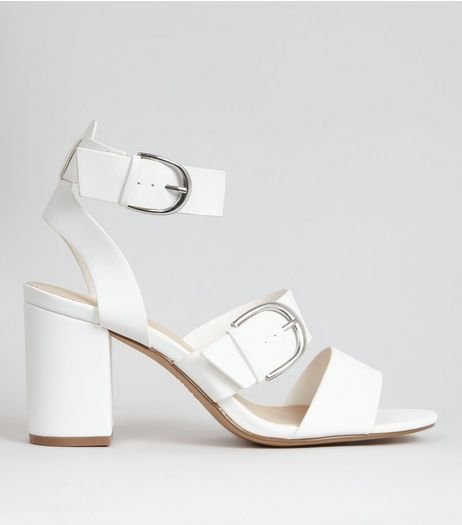 White Buckle Strap Chunky Heeled Sandals | New Look