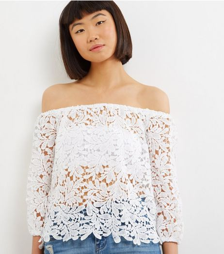 Parisian White Crochet Bardot Crop Top | New Look