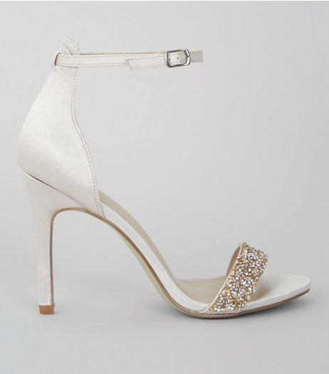 Silver Satin Beaded Heeled Sandals | New Look