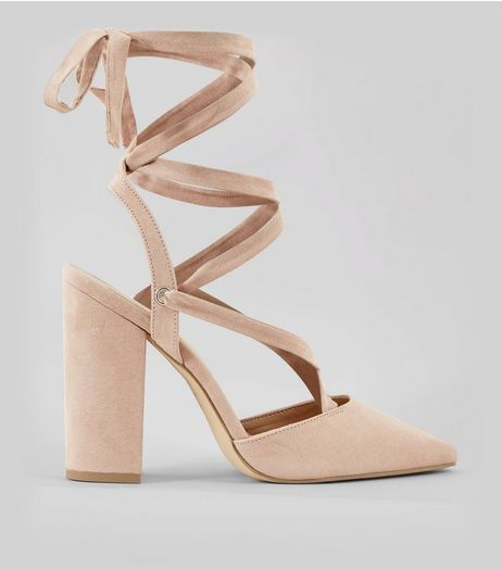 Nude Pink Suedette Tie Up Pointed Heels | New Look