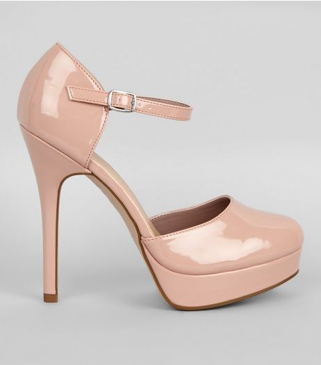 Cream Patent Platform Heels  | New Look