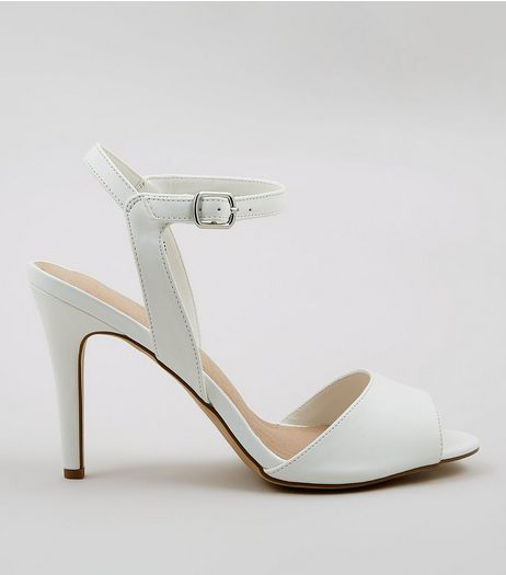 White Comfort Ankle Strap Heeled Sandals | New Look