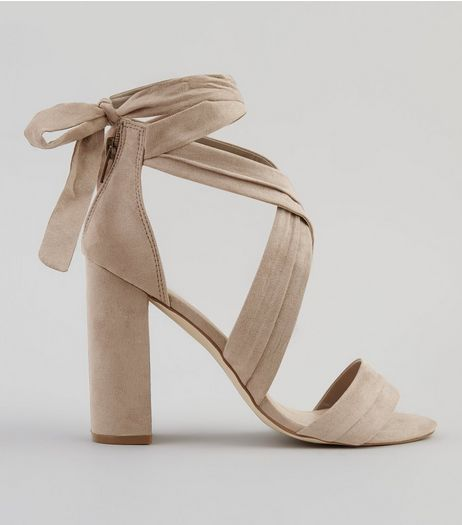 Nude Suedette Ankle Tie Block Heels | New Look