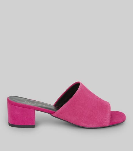 Bright Pink Suede Heeled Mules | New Look