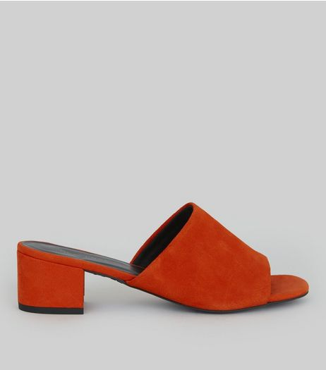 Bright Orange Suede Heeled Mules | New Look