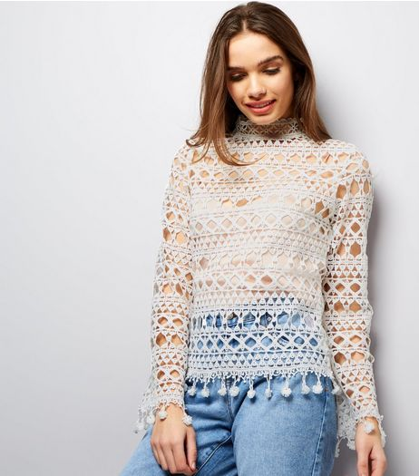 Parisian White Crochet Lace Funnel Neck Top  | New Look