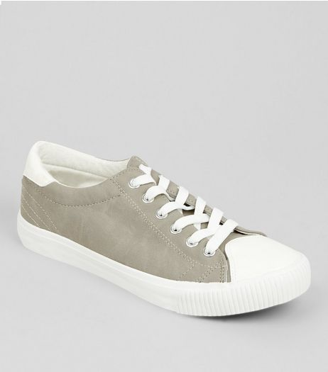 Grey Contrast Toe Trainers | New Look