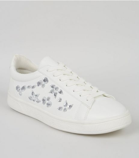 White Jewel Side Trainers | New Look